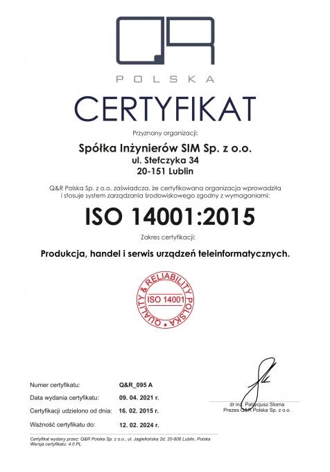 Certyfikat zarządzania środowiskowego ISO 14001:2015